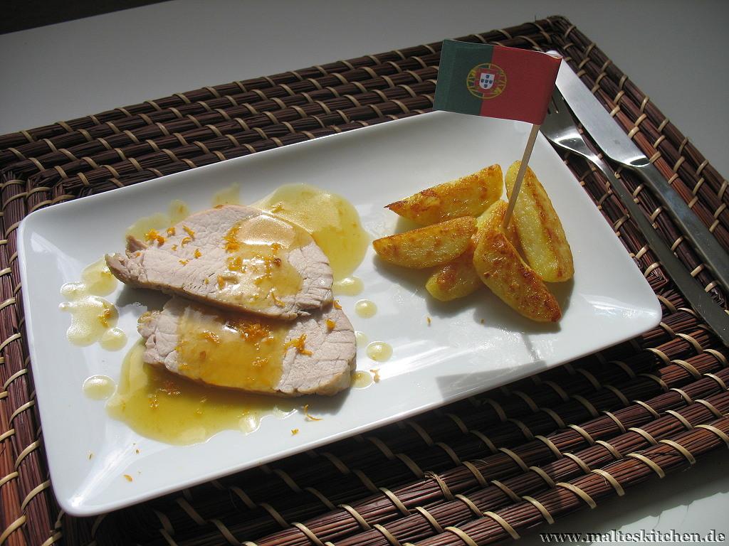 Schweinerücken in Orangensauce mit Goldenen Kartoffeln