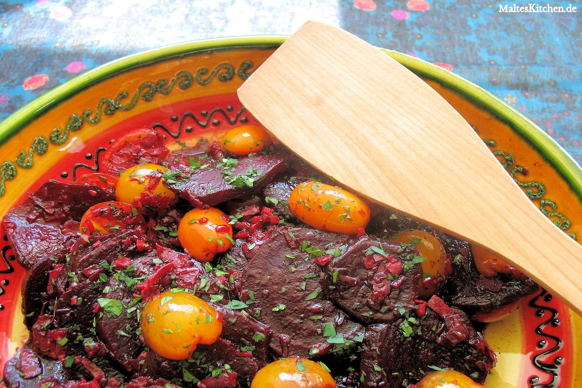 Rezept für einen rote Bete Salat mit Tomaten