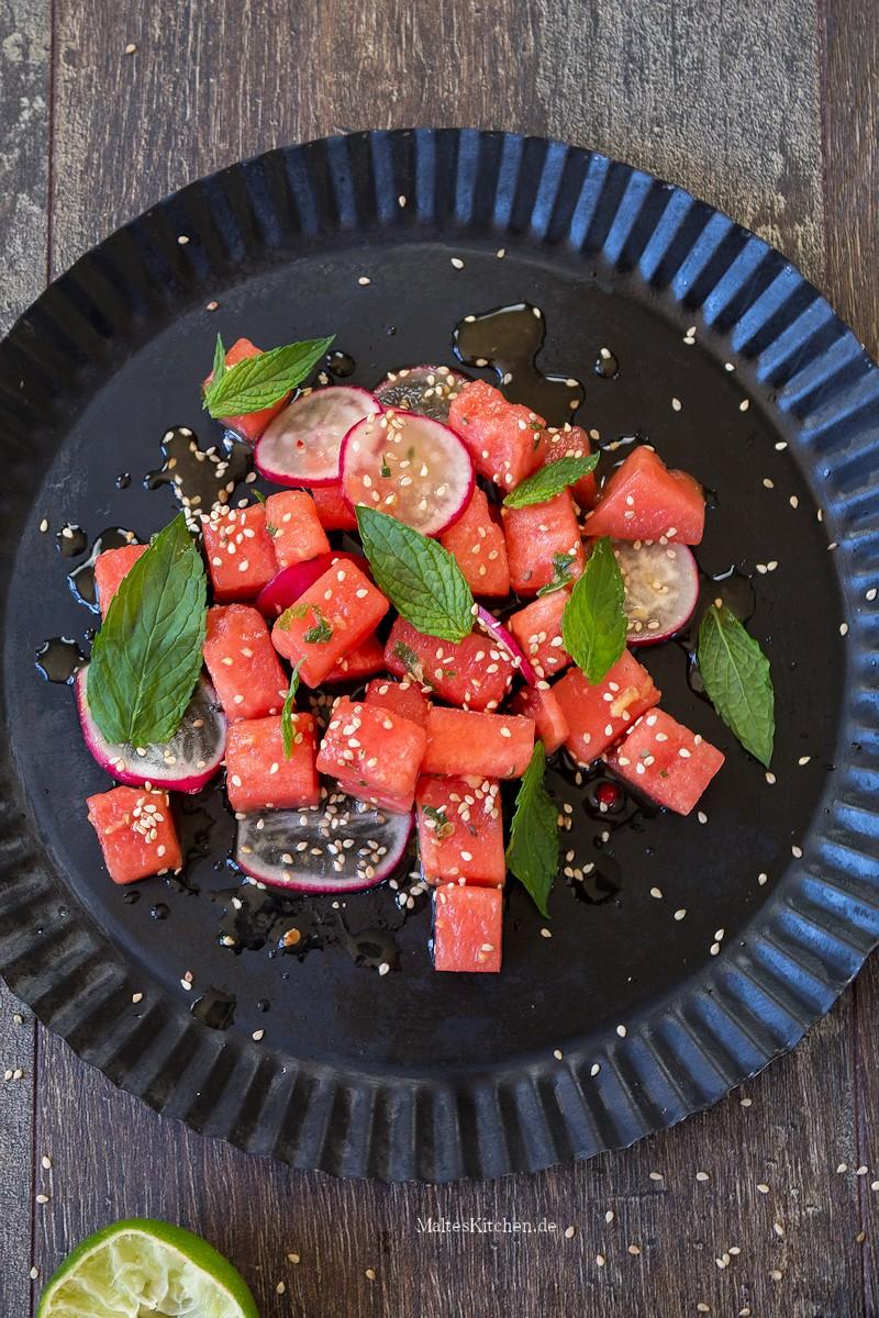 Wassermelonen-Salat mit Asia-Dressing