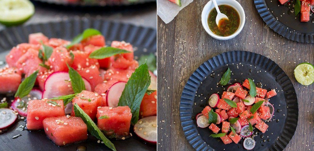Wassermelonen-Salat mit Sesam und Minze