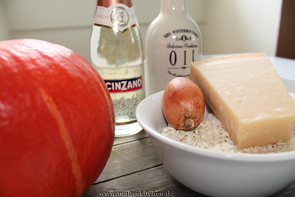 Einige Zutaten für den cremigen Kürbis Risotto