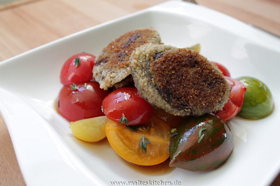 Rezept für einen Tomatensalat mit Blutwurst