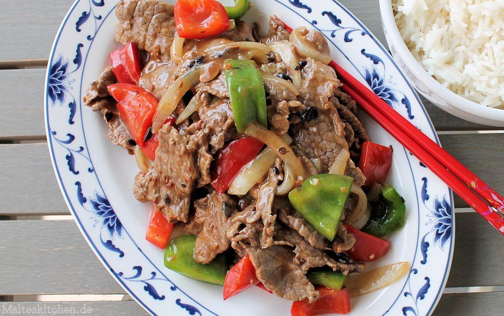 Rindfleisch mit schwarzer Bohnensauce