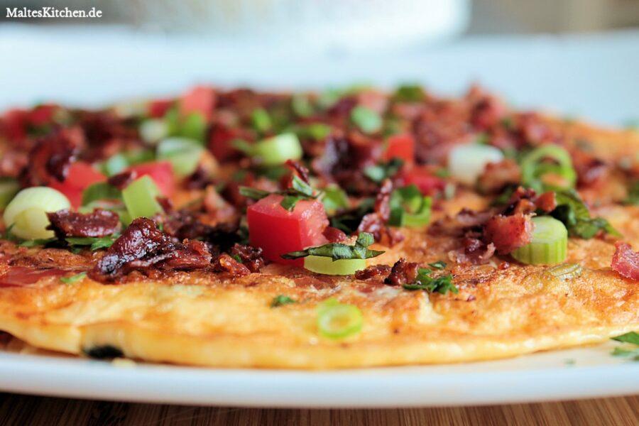 Rezept für ein Tomatenomelett mit Bacon