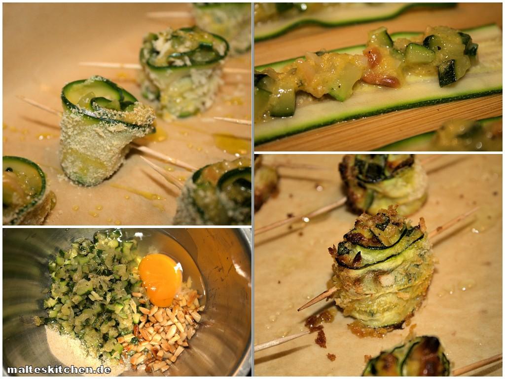 Zubereitung der Zucchiniröllchen