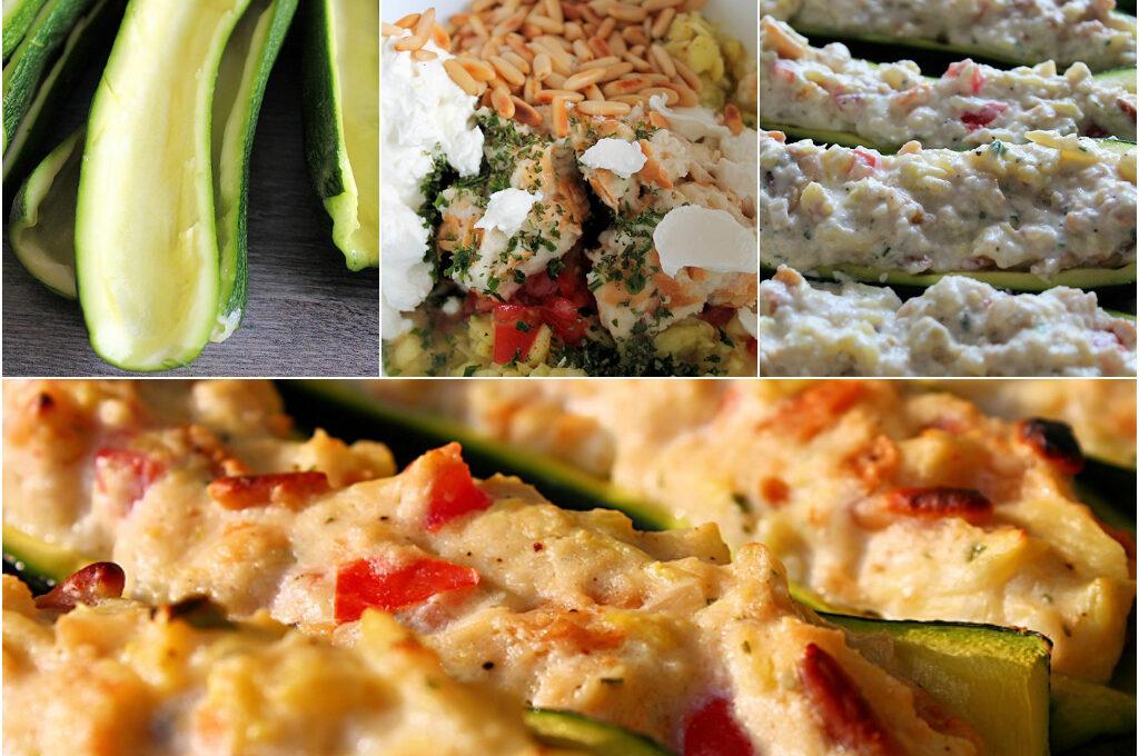 Leckere mit Ziegenkäse gefüllte Zucchini