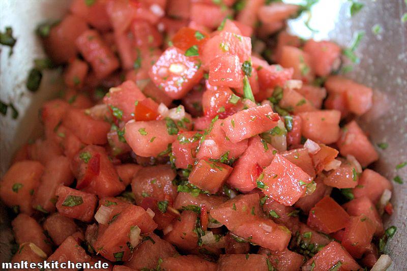 Die Melonen-Salsa passt sicher auch gut zu Fisch!