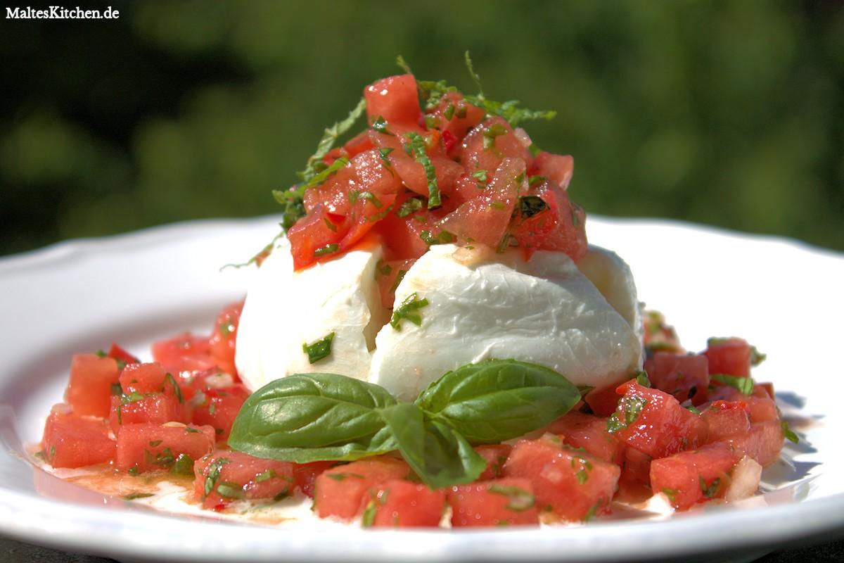 Rezept für Mozzarella mit Melonen-Salsa