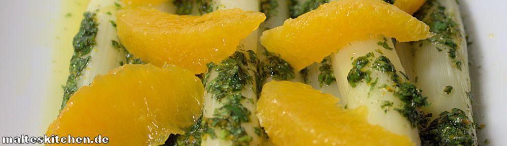 Rezept für einen Spargelsalat mit Orangensauce