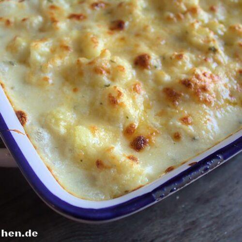 Lecker Blumenkohl mit Käse überbacken