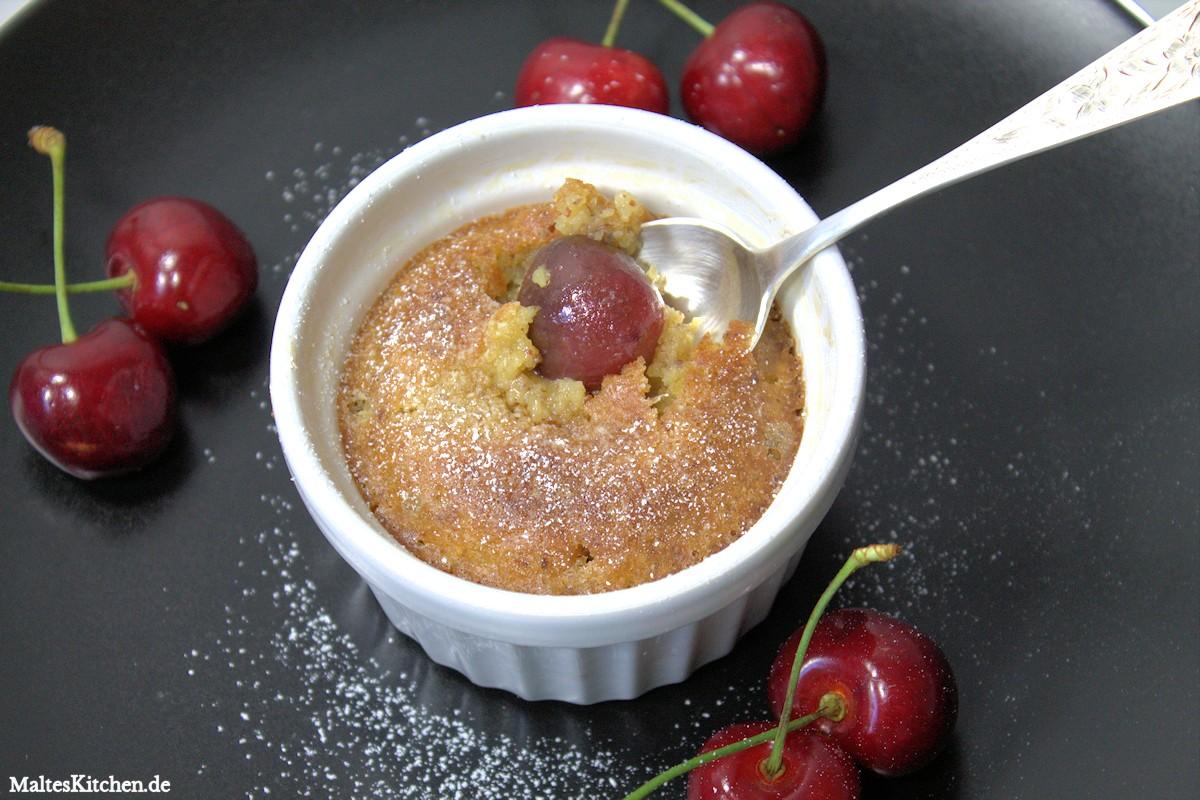 Rezept für Pinienkern-Clafoutis mit Kirschen und ohne Zucker