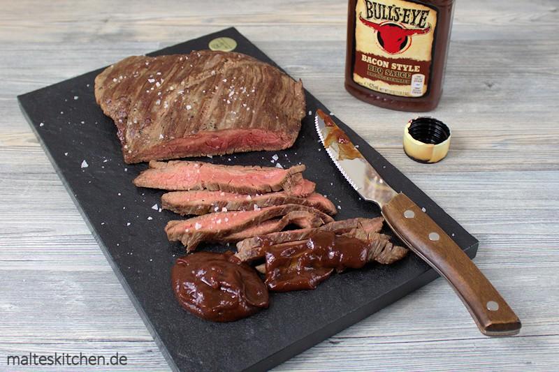Die Bull's Eye Bacon Style passt super zum Flankensteak