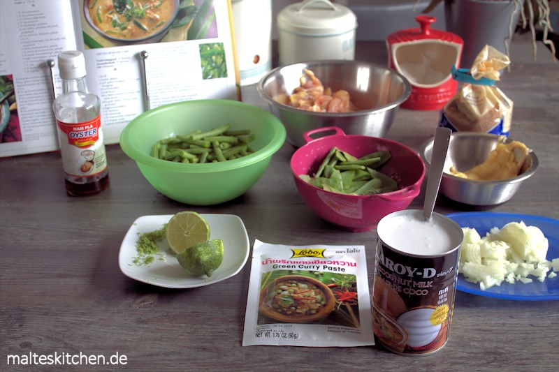 Typische Zutaten für ein Grünes Curry