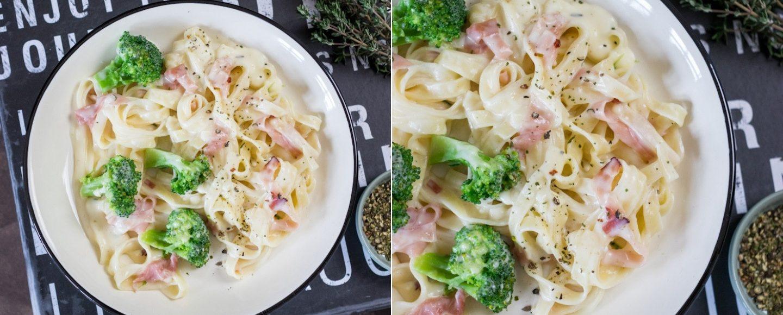 Rezept für Tagliatelle mit Schinken und Brokkoli in Käsesauce