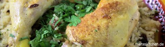 Rezept Hähnchen mit karamellisierten Zwiebeln und Kardamomreis nach Ottolenghi