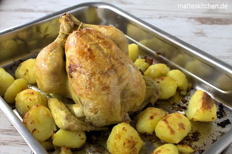 Zitronen-Brathuhn mit gerösteten Kartoffeln nach Jamie Oliver