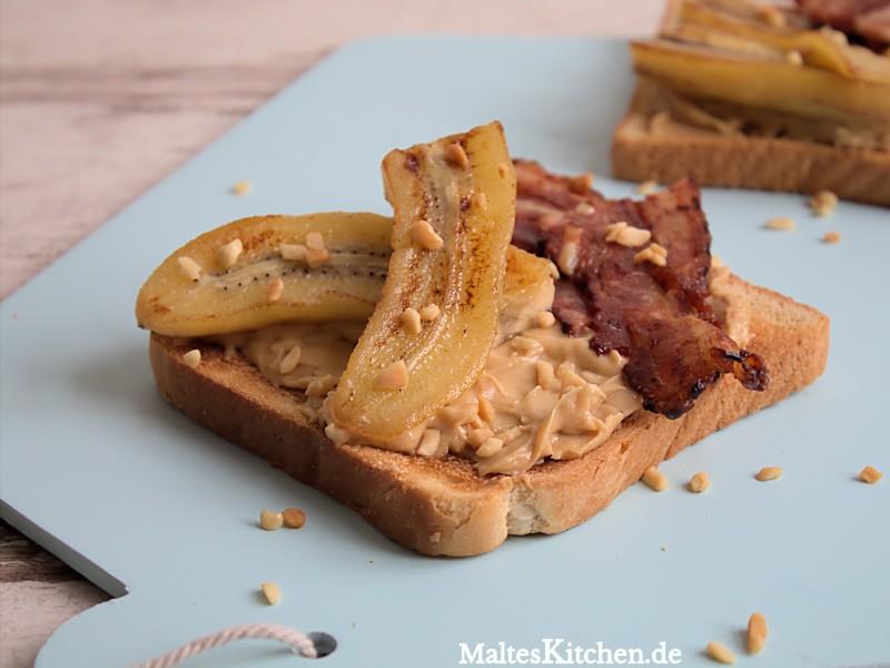 Sehr leckeres Bananen-Erdnussbutter-Sandwich
