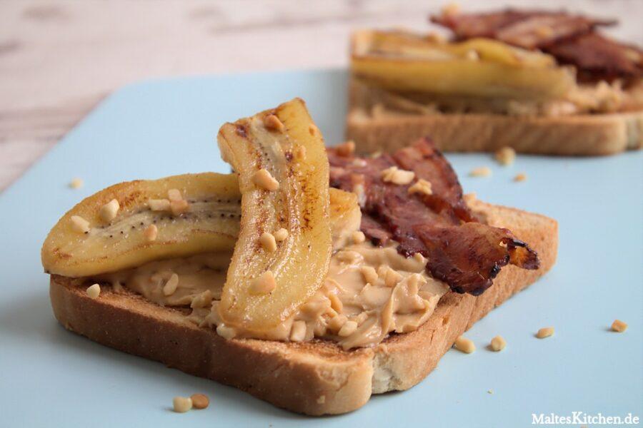 Rezept für ein Bananen-Erdnussbutter-Sandwich