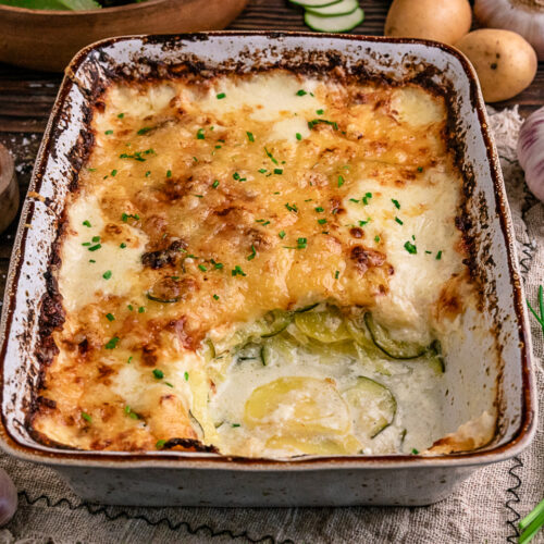 Rezept für ein Kartoffel-Zucchini-Gratin nach Johann Lafer