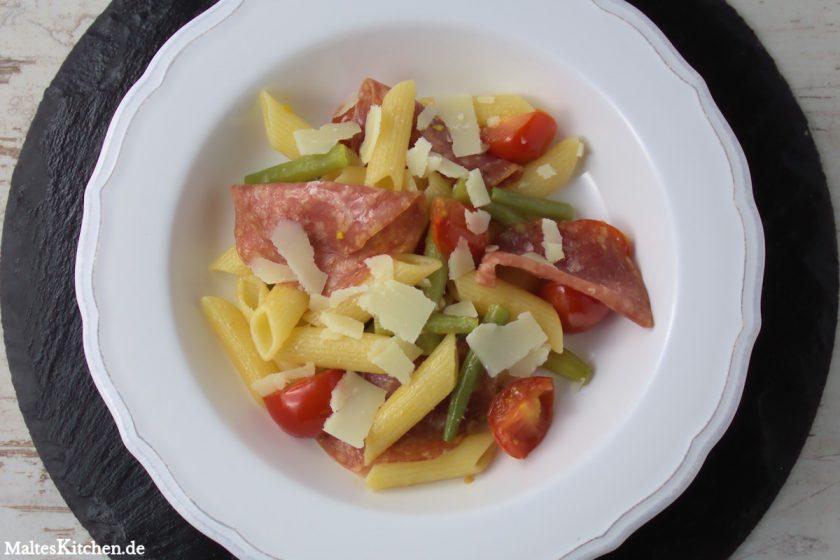 Rezept Penne mit Bohnen, Kirschtomaten und Fenchelsalami