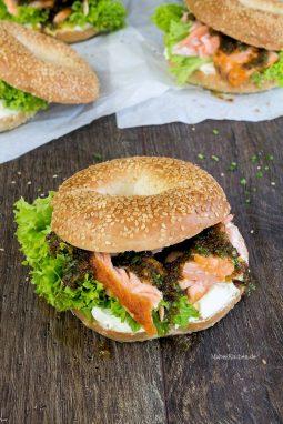 Bagel mit Lachs und Honig-Senf!