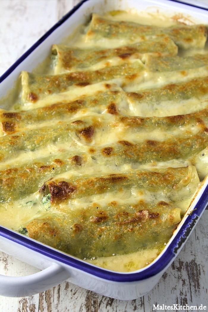 Sehr lecker Canneloni gefüllt mit einer Spinat-Ricotta-Mascarpone-Füllung