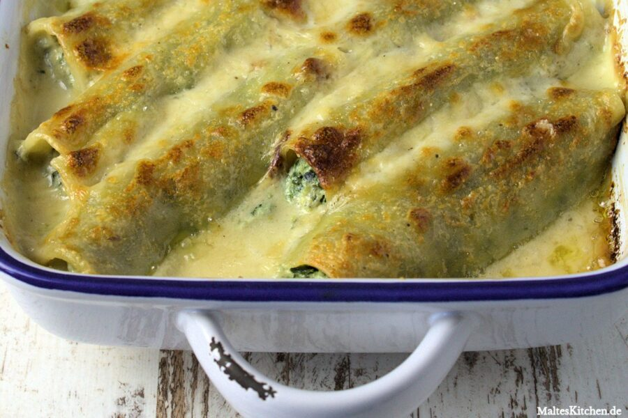 Rezpt für Cannelloni mit Spinat und Ricotta