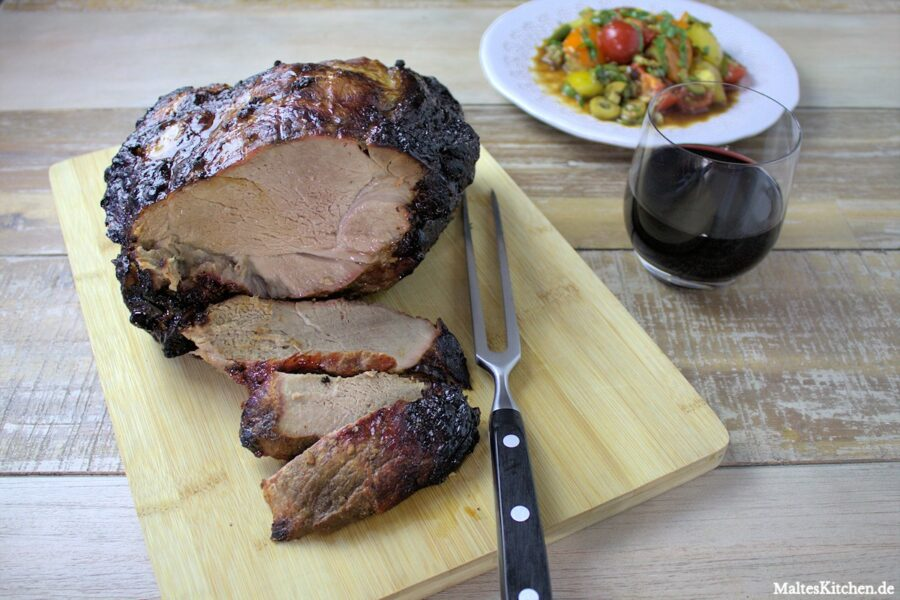 Rezept für einen Schweinenacken am Knochen mit schwarzer Essig-Marinade