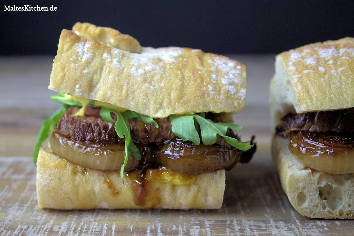 Rezept für ein Steak-Zwiebel-Sandwich nach Jamie Oliver