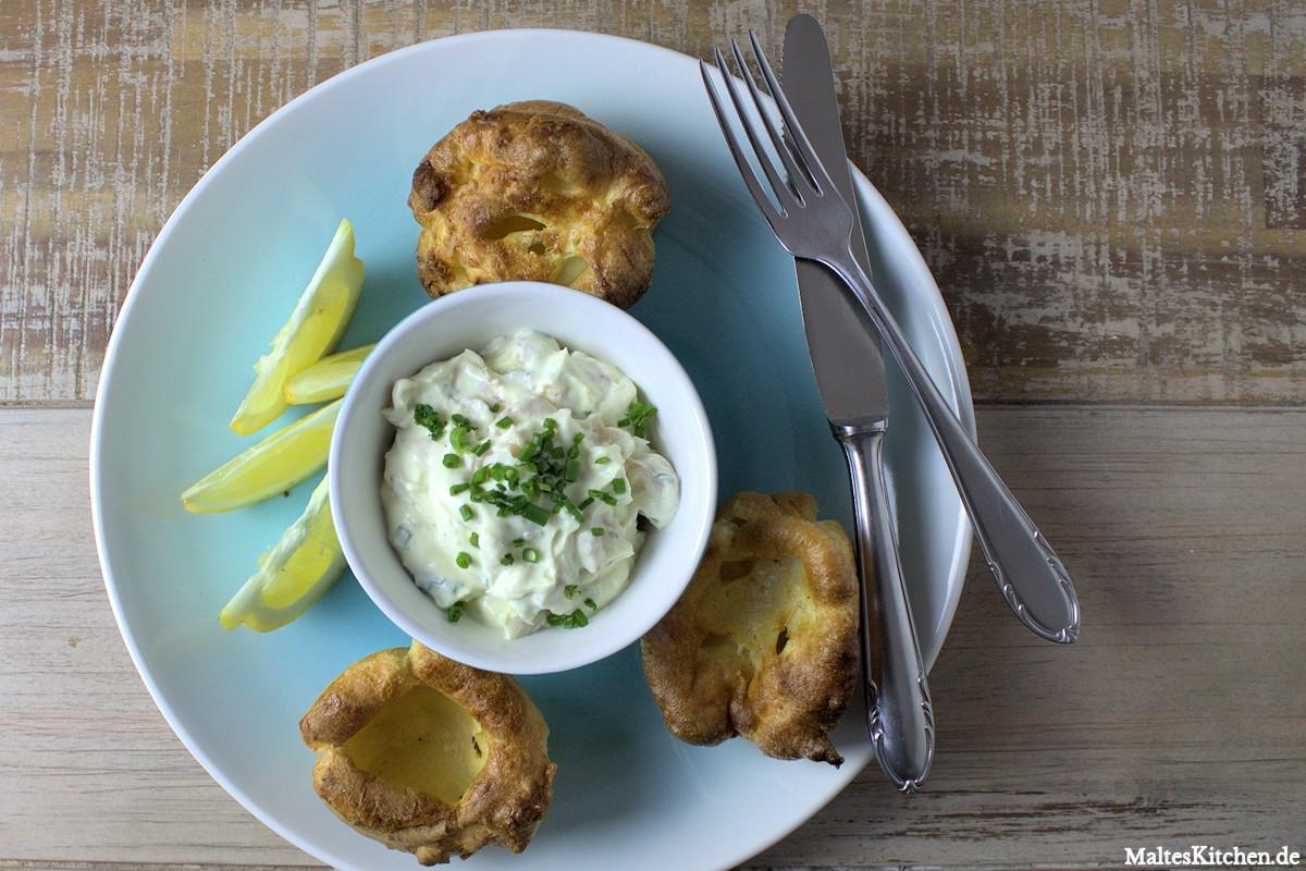 Rezept für eine Räucherforellencreme mit Yorkshire Puddings nach Jamie Oliver