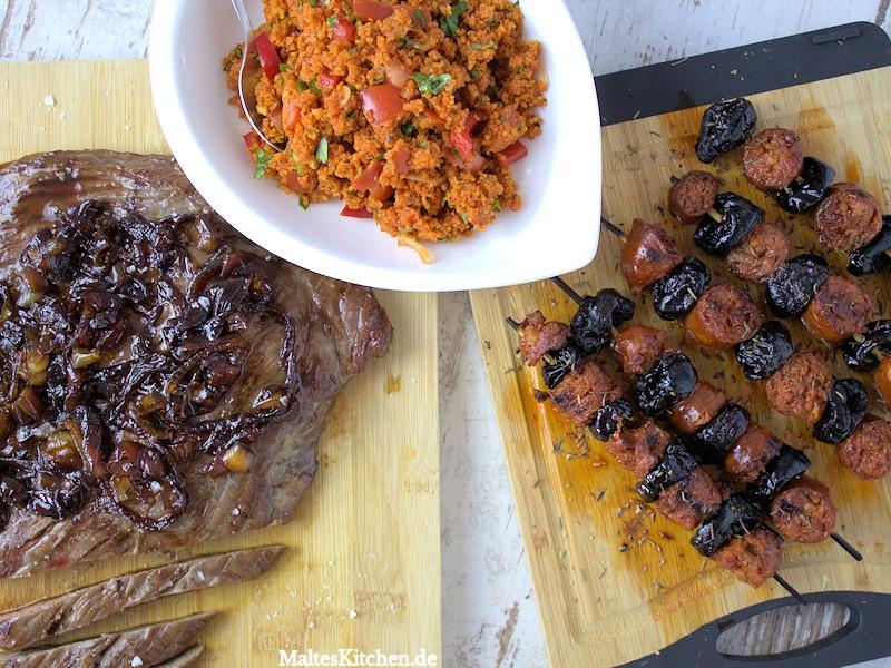 Chorizospieße und Flanksteak