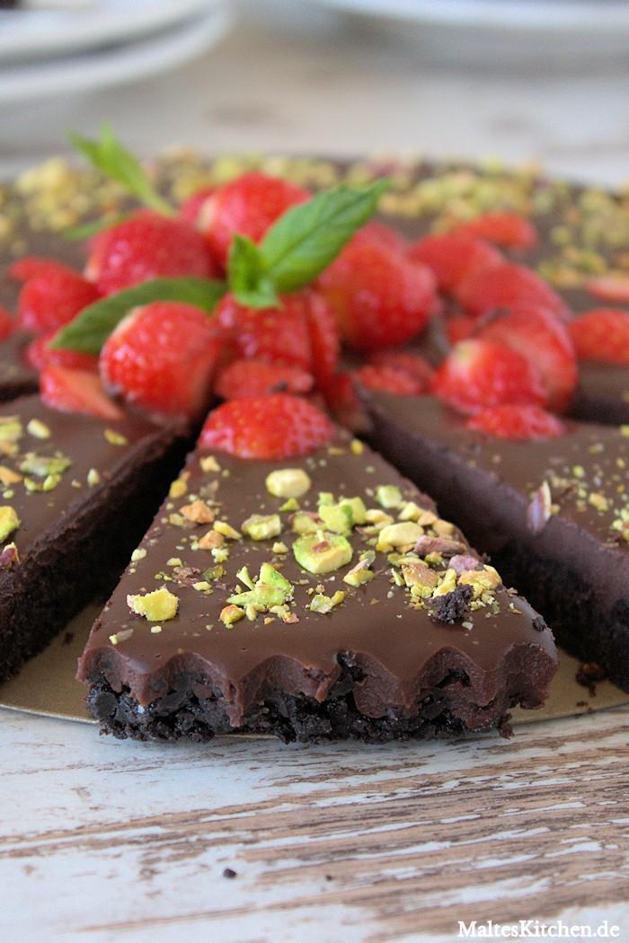 Schokoladentarte Mit Erdbeeren
