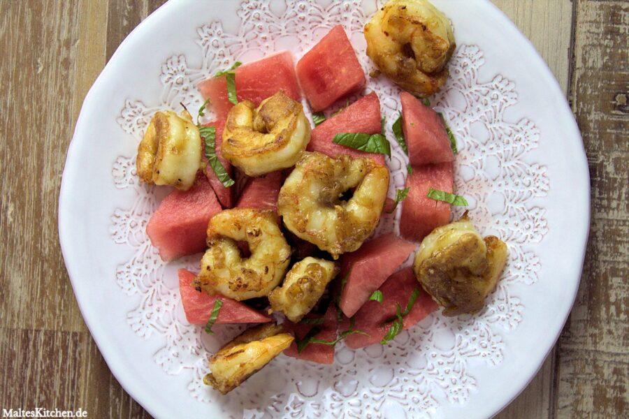 Rezept für leckere Chilli-garnelen mit einem erfrischenden Wassermelonen-Salat nach Nigel Slater