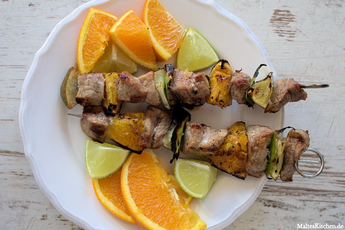 Rezept für Kalbsspieße mit Zitrusfrüchten vom Grill