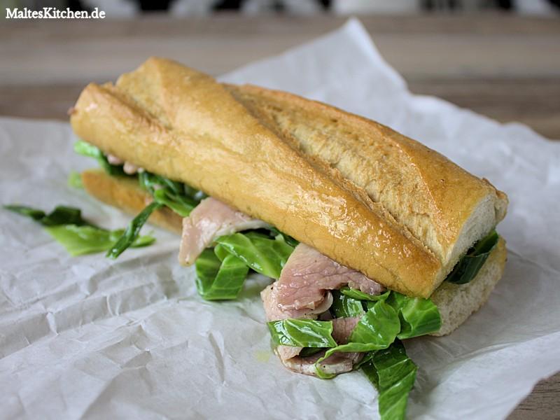 Schinken Sandwich mit Knoblauchbutter