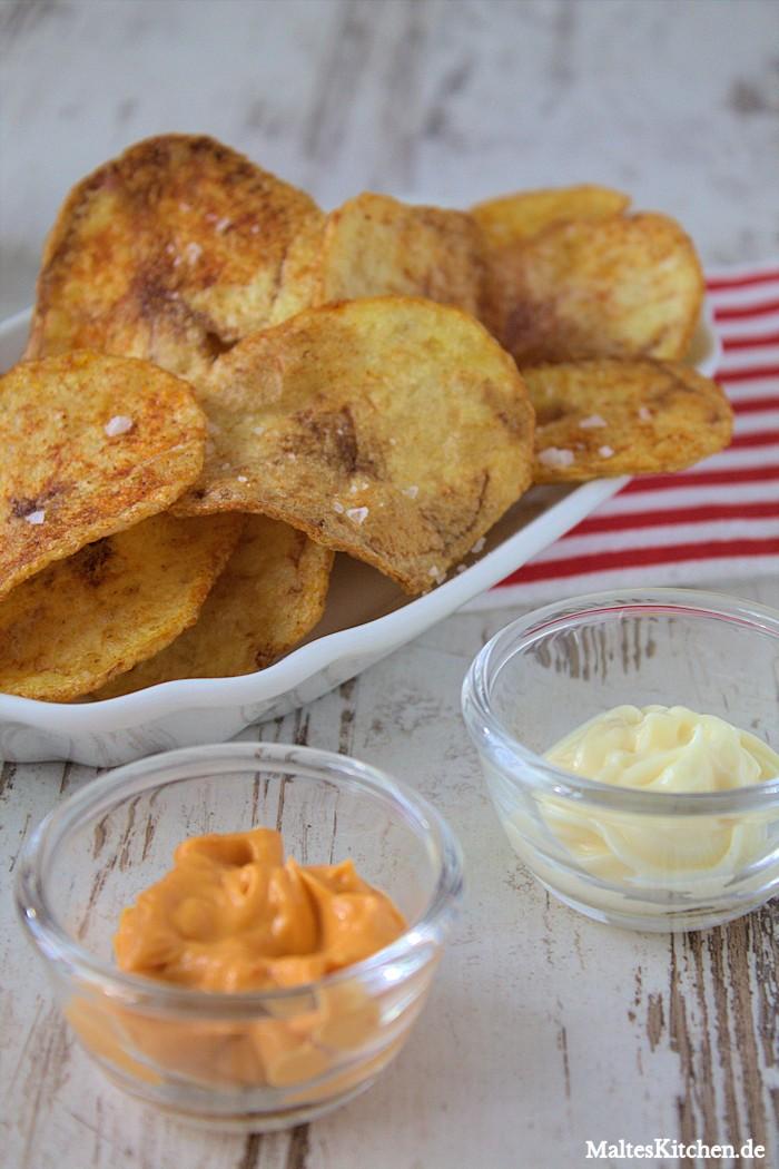 Knusprige Kartoffelchips mit Mayonnaise