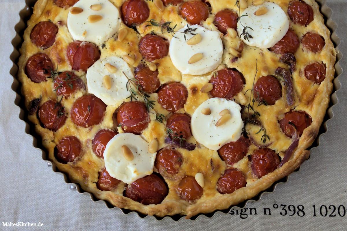 Rezept für eine Tarte mit Kirschtomaten und Ziegenkäse