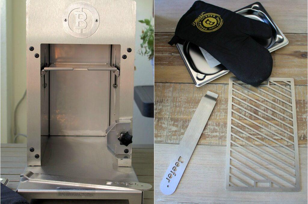 Der Beefer inklusive Gastroschale, Beefer Grillrost und Beefer Handschu