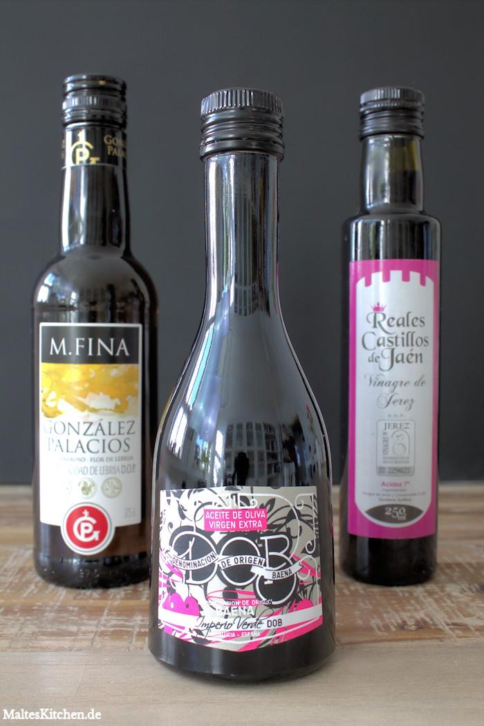 Sherry, Sherry-Essig und Olivenöl aus der Delinero Box