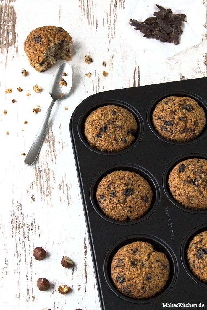 Saftige Muffins mit Haselnuss und Schokolade