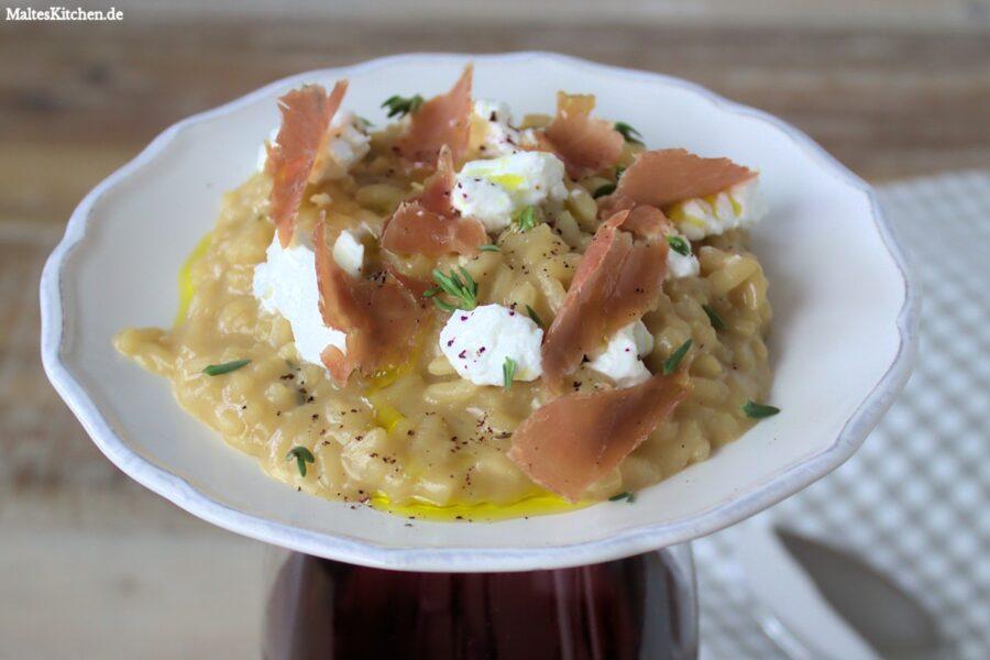 Rezept für ein Risotto mit Ziegenfrischkäse und Schinken von Jamie Oliver