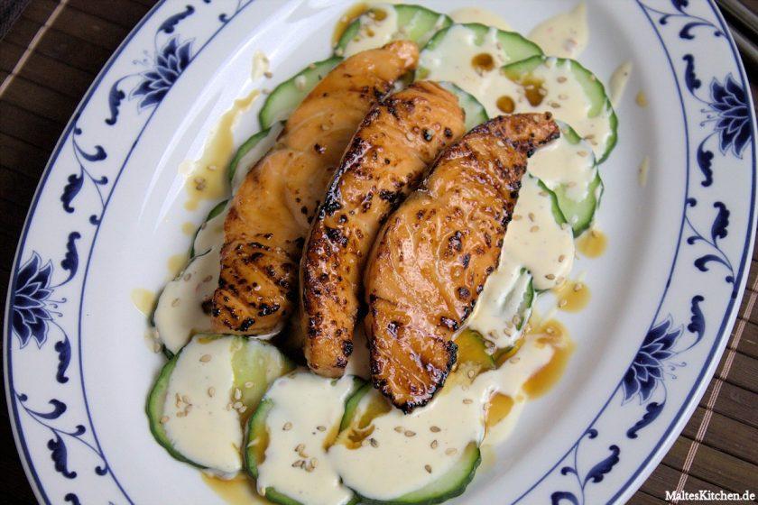 Rezept Teriyaki-Lach mit Gurkensalat, Zitronencreme und Sesam