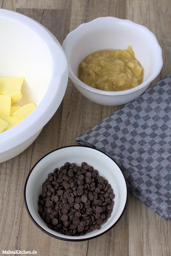 Butter, schokodrops und Bananen