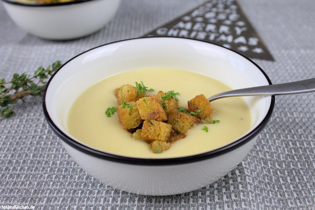 Rezept für eine weihnachtliche Kartoffel-Pastinaken-Suppe