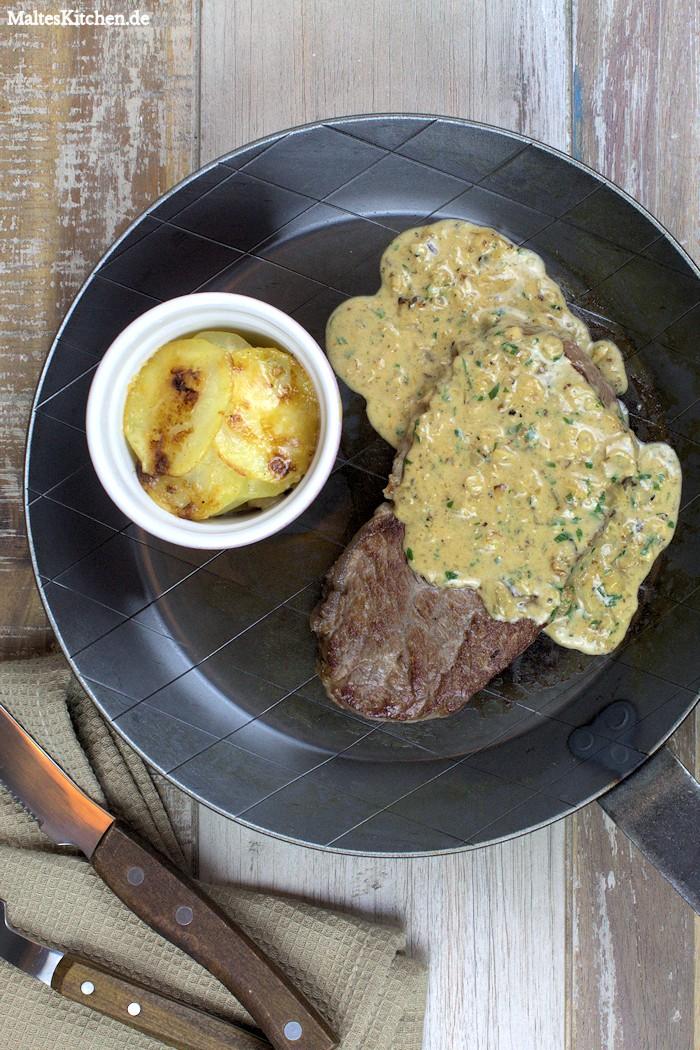 Das Sellerie-Kartoffel-Gratin hat sehr gut zum Steak gepasst