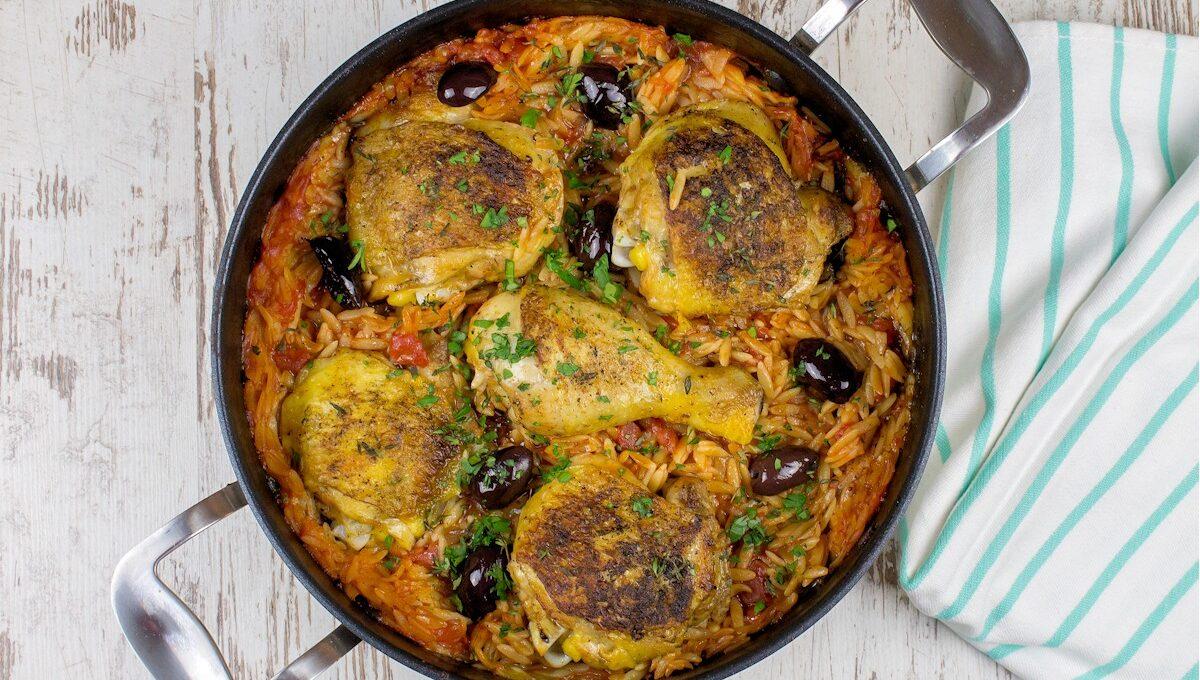 Rezept Kritharaki mit Hähnchen und Oliven