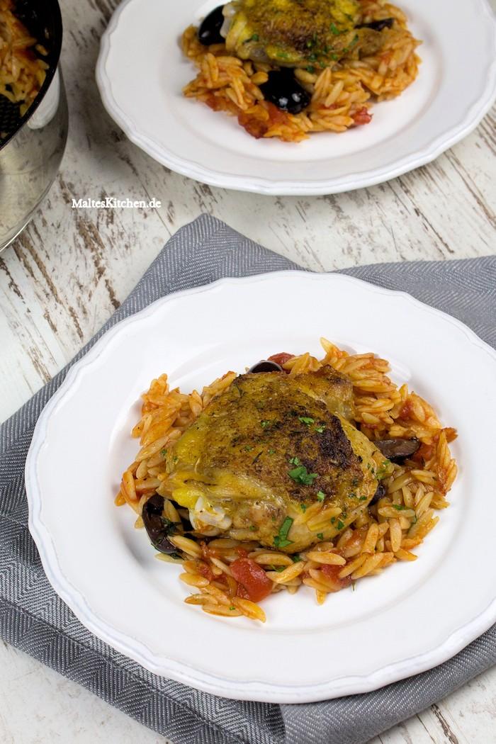 Kritharaki mit Hähnchen und Oliven