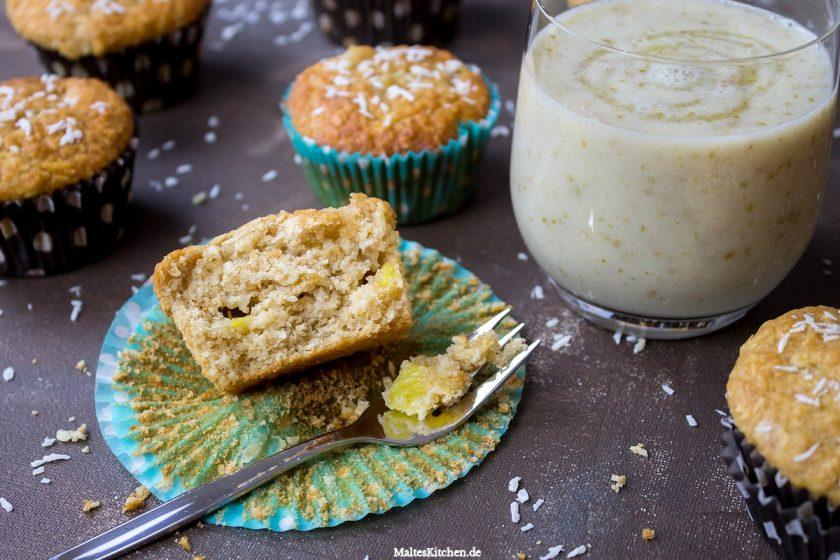 Rezept für saftige Ananas-Kokos-Muffins und Birnen-Honig Smoothie