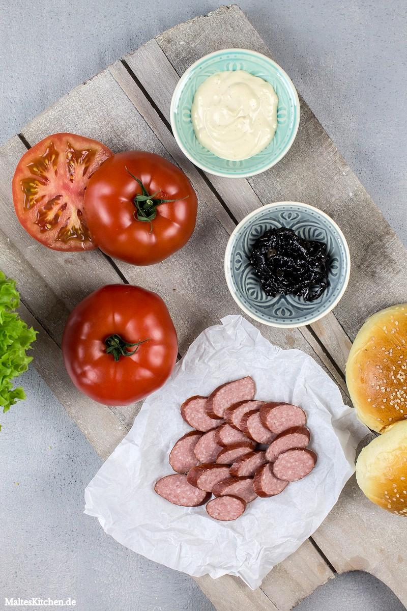 Einige Zutaten für diesen leckeren Burger
