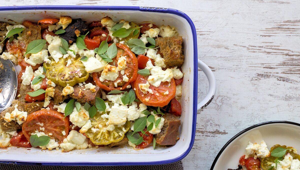 Rezept warmer Tomatensalat mit Feta